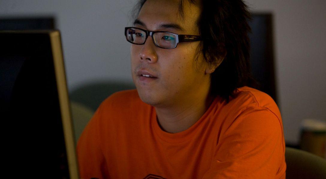 Stats student at a computer